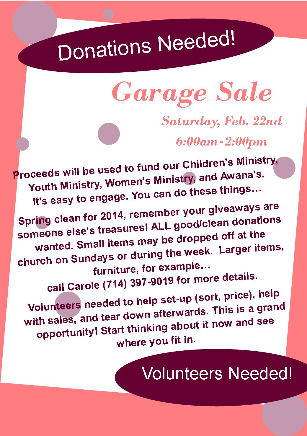 garage flyer cornerstone covenant church garage flyer